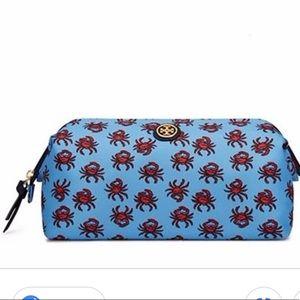 Tory Burch Printed Nylon Large Crab Makeup Bag